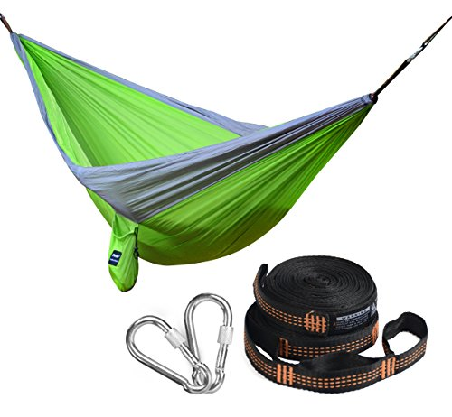 iNeibo Double Camping Hammock with Screw Lock Carabiners and Straps, Hanging Hammock- Portable & Durable lightweight Parachute Nylon for Backpacking, Camping, Travel, Hiking, Yard, Beach (Green)
