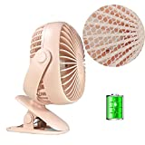 Clip on Fan for Baby Stroller, Battery Operated USB Powered Rechargeable Desk Fan with Finger Protection Network, Powerful Quiet for Office Baby Crib (Pink)