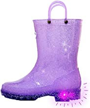 Outee Toddler Kids Glitter Light Up Rain Boots Mud Boots