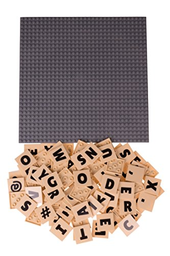 Strictly Briks AlphaBriks with 10 x 10 Stackable Gray Base Plate 100% Compatible with All Major Brands | Baseplate and Tiles for Education and Fun | 100 4x4 Alphabet Letter Tiles