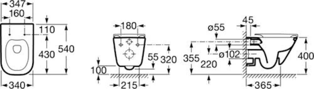 Roca 34647L000 A34647L000 Taza Suspendida Rimless Blanco Modelo The Gap Square Fijaciones Ocultas Salida Horizontal