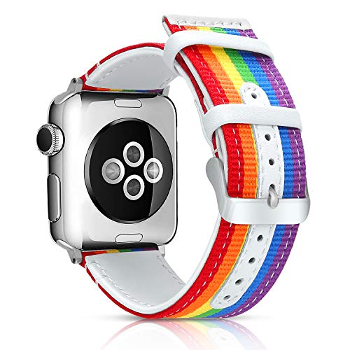 LBYZCAS Sport Band Compatible for Apple Watch 38MM 40MM,Soft and Breathable Nylon with Genuine Leather Wristband Strap…