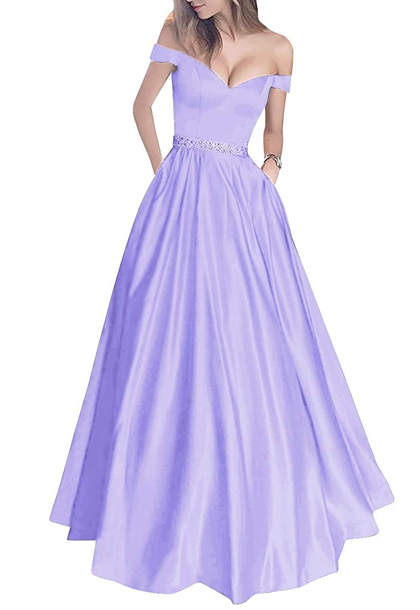 purplec MorySong Women's Off Shoulder Long Prom Dress with Pockets Beading Evening Gown