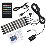 Car LED Strip Lights Justech 4pcs 48 LED Multicolor Music Car Interior Atmosphere Lights RGB SMD Car Mood Lights with Sound Active Function and Wireless Remote Control for Car TV Home-USB Port