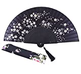 """Amajiji® Charming Elegant Modern Woman Handmade Bamboo Silk 8.27"""" (21cm) Folding Pocket Purse Hand Fan, Collapsible Transparent Holding Painted Fan with Silk Pouches/ Wrapping. (CZT-05)"""