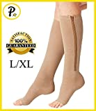 NEW Open Toe Knee Length Zipper Up Compression Hosiery Calf Leg Support Stocking (L/XL, Beige) offers