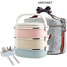 Update Unichart Stainless Steel Square Lunch Box, Lock Container Bag, Spoon and Chopsticks Set Heat/cold Insulated Kids Students for A Office Snack Food Storage Boxes (3-Tier)
