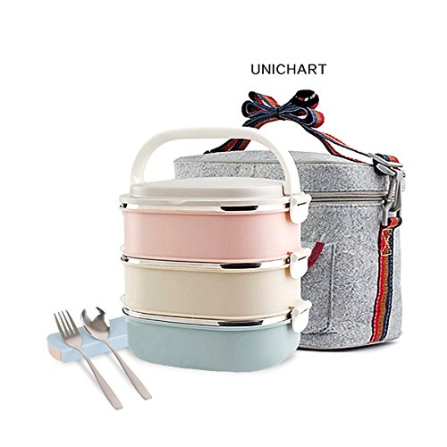 Update Unichart Stainless Steel Square Lunch Box, Lock Container Bag, Spoon and Chopsticks Set Heat/cold Insulated Kids Students for A Office Snack Food Storage Boxes - 7' Grad Cap