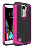 LG K10 Case, KAMII Shock-Absorption Impact-Resistant Dual Layer but Lightweight Hybrid Protective Case with Hard PC and Flexible Silicone case Cover for LG K10 / LG Premier (Black Rose)