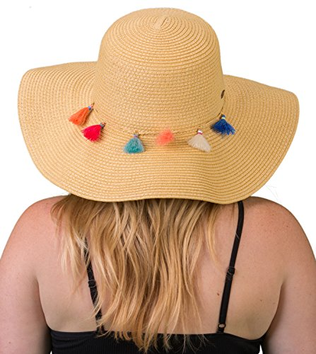 H-2019-32 Embellished Foldable Packable Floppy Beach Sun Hat - Natural Tassel -