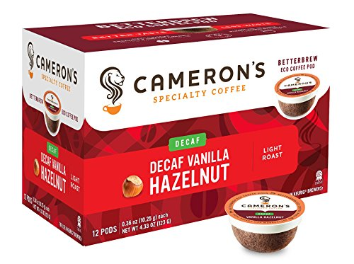 Camerons Coffee Single Serve Pods, Flavored, Decaf Vanilla Hazelnut, 12 Count (Pack of 6)