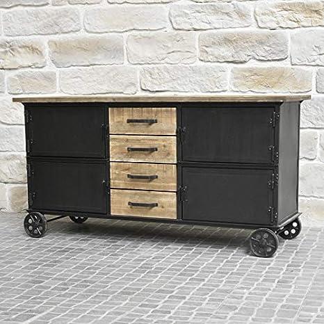 Bahut mueble aparador con ruedas industrial rústico, hierro y madera: Amazon.es: Hogar