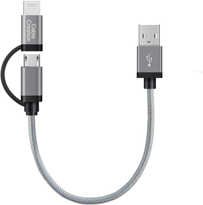 CableCreation Short 0.8FT 2 in 1 Lightning and Micro USB Cable, [MFi Certified] Braided iPhone & Android Charging Sync Cord Compatible iPhone 11, X,