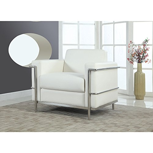 Best Master Furniture Executive Faux Leather Club Accent Chair, Medium, White - Executive Club