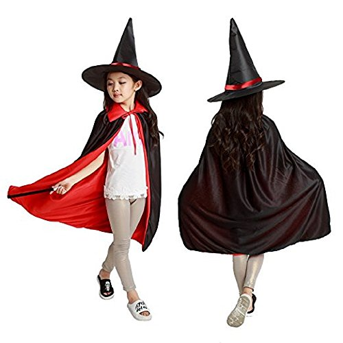 Halloween Costume, Children's Cloak with Witch Hat and Reversiable Wear for Halloween Cosplay Party (70cm-S, (Witch Coustume)