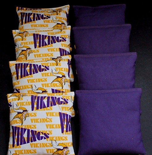 Rare Bean (Rare MINNESOTA VIKINGS 8 Cornhole Bean Bags ACA Regulation Quality Handmade)