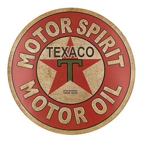 PEI's Texaco Motor Oil Retro Vintage Round Hanging Tin Sign, Embossed, Wall Decor for Home Garage Bar Man Cave, Round 12x12 Inch / 30x30cm - Motor Oil Tin