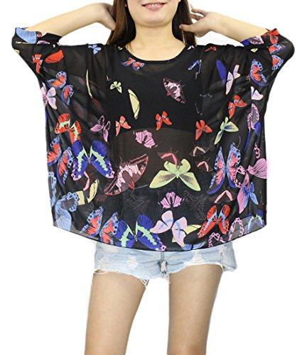 Cover Cache Mode Bikini Manche Plage Haut de Caftan Femme Floral Hippie Imprimee Chemise Soie Mousseline en 4 Maillots Chauve Kimono Blouse Top de Bain 39 Souris Chic Boheme Tunique 3 Multicolore de Up Beachwear S6pq47