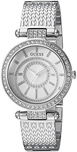 Guess Women's Stainless Steel Casual Textured Bracelet Watch, Color Silver-Tone (Model: U1008L1) ()