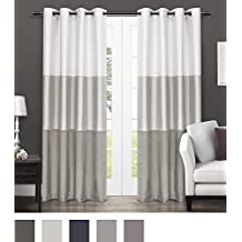 exclusive home curtains chateau striped faux silk grommet top window curtain panel pair dove grey 54x96