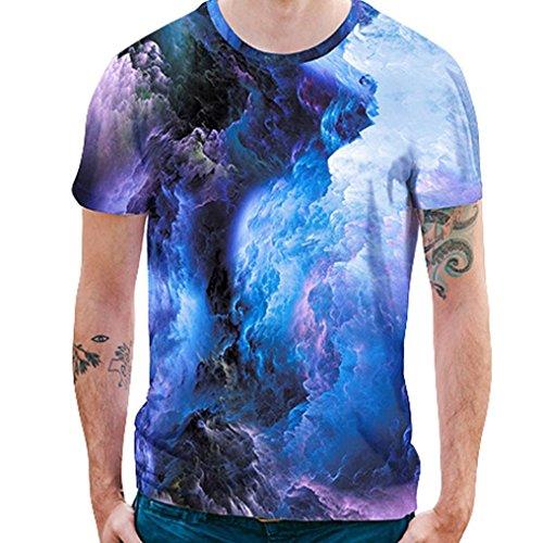 Unisex Stücke Shirt Shirts T 3D Oversize Druckten Basic Fit Top Slim Kurzarmshirt Sommer Shirt Print Shirt T Wolken T Herren Beiläufige Blue T Casual Rundhals Flockige Longra gZwx44