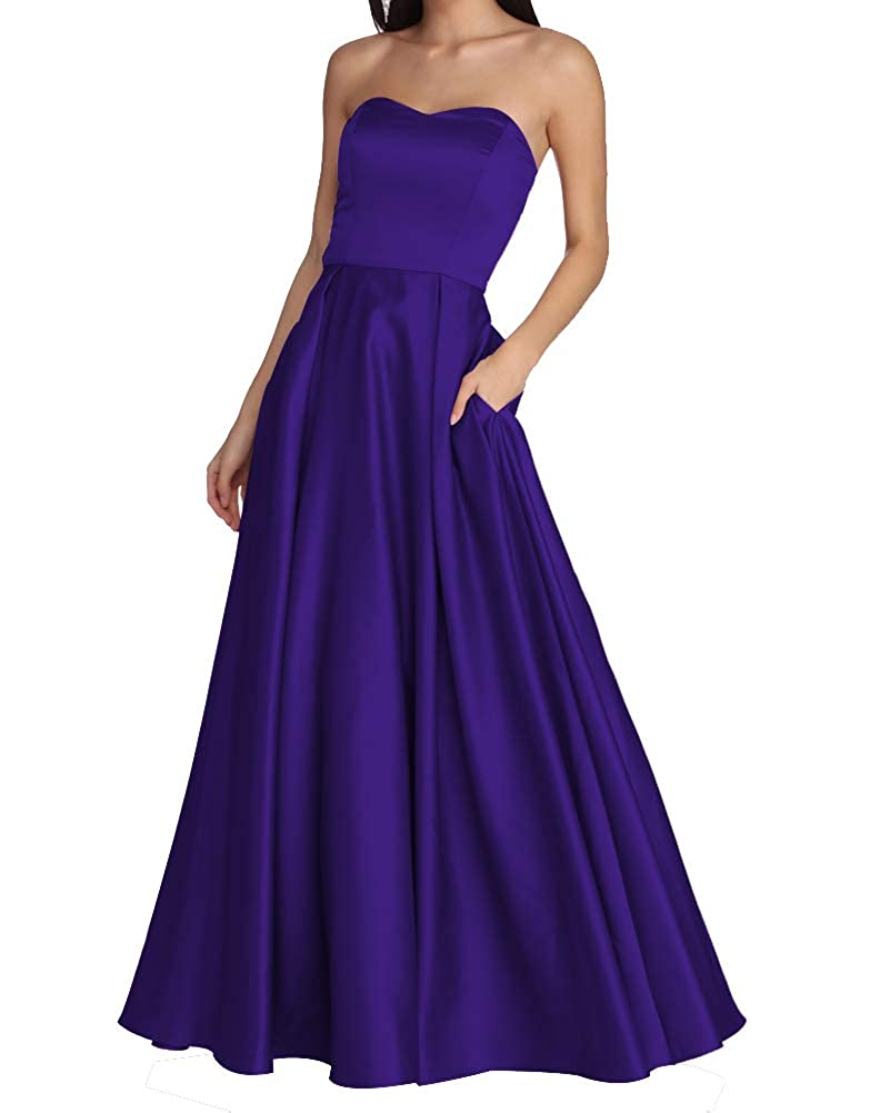 Purple Women's Strapless Long Prom Dresses A Line Satin Homecoming Party Gowns with Pockets BD040