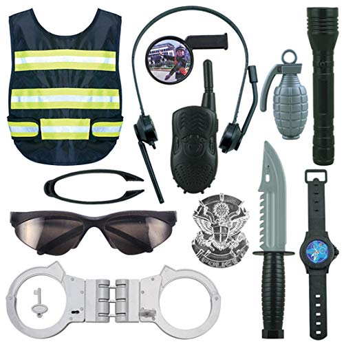 (Yamix Police Costume for Kids, 12Pcs Police Costume Role Play Kit with Vest, Handcuffs, Glasses, Swat Team Halloween and Police Costume Dress)