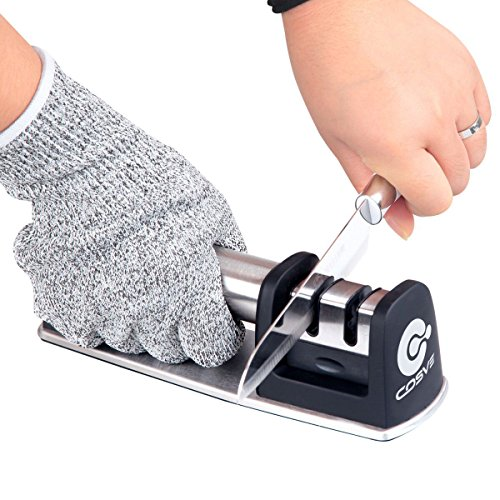 Kitchen Knife Sharpener for Straight and Serrated Knives, COSVE Non-Slip Base 2 Stage Diamond Manual Sharpening System with Cut Resistant Glove