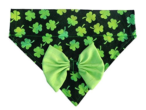 Two in One Bandana Bow 3 Leaf Clover Shamrock Print Over the Collar Thread Through Slip Thru, St Patrick's Day Dogwear (Print Cotton Dog Collar)