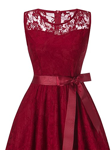 Vestito DYLH Cocktail Rosso Colori Vintage in Pizzo Molti Cerimonia Manica Elegante Rotondo Senza Donna Scollo ggZwadSrxq