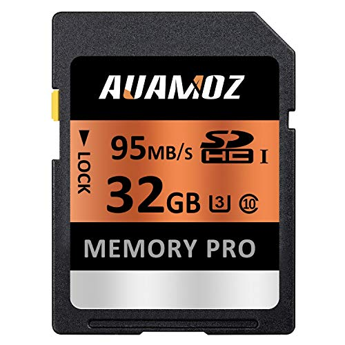 32GB SD Card, AUAMOZ Memory Pro Class 10 SDHC UHS-I Memory Card for Camera, Camcorders and Computer, U3 up to 95 MB/s, 10 Class SDHC UHS-I Card (Orange/Black)