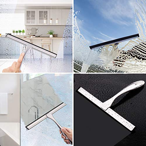 LPOLER Stainless Steel Shower Squeegee for Shower Doors, All-Purpose Window Squeegee for Bathroom, Mirrors, Tiles and Car Windows with 2 Hooks, 10 inch