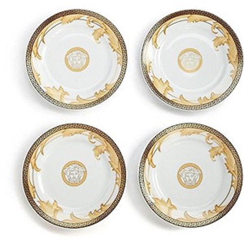 Rosenthal Meets Versace Arabesque Champagne Canape Medusa Plates, Set of (Versace China Plates)