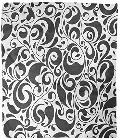 スローブランケット50x60インチ高級フランネル黒と白の葉花ペイズリー伝統的なトルコマイクロファイバープリントソフト居心地の良いしわ耐性ソファベッドスローソファ 150X200