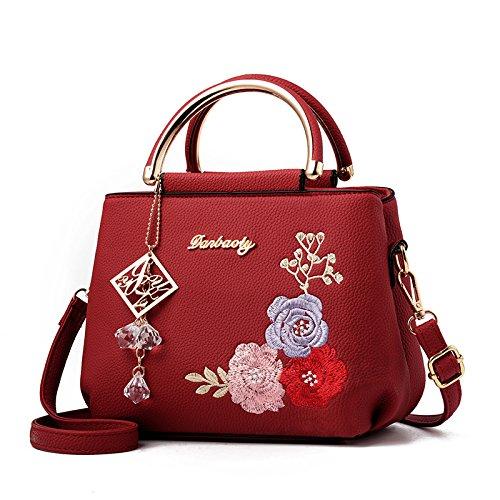 Zxcb Bag Pu Crossbody Spalla Shopping Borse Donne Piccolo Dell'annata Appeso Partito Ricamo Red01 Delle Borsa TUn0qrgTwY