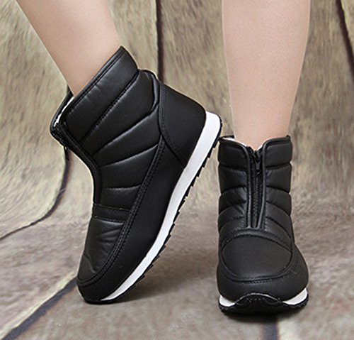 Stylish Snow Warm High Round Womens Boots Toe Tops Aisun Shoes Fur Front Ankle Flats Zipper Lined Black Faux R1wSq6Ey