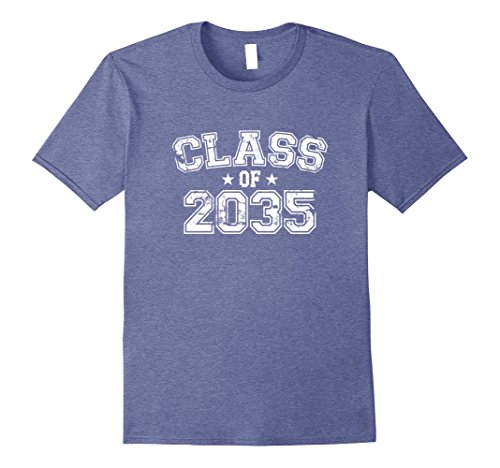 Graduate Design T-shirts - Mens Distressed Class of 2035 T-Shirt XL Heather Blue