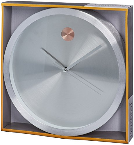 Bernhard Products Wall Clock Silver 10 Inch Luxury Design with Rose Gold Detail Home Clock - Quality Quartz, Battery Operated Decorative Clock Modern Elegant Luxurious Contemporary (Silver) (Silver)