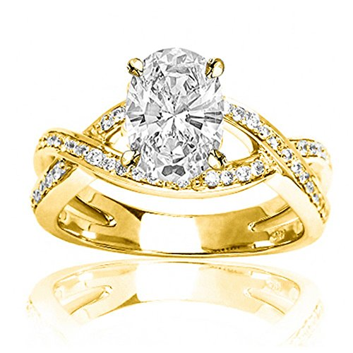 1.25 Ctw 14K Yellow Gold Intertwining Twisting Split Shank Designer Oval Cut GIA Certified Diamond Engagement Ring (1 Ct H Color VS2 Clarity Center Stone) (Oval Gia Diamond Graded)