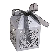 Candy Boxes - SODIAL(R)50pcs Love Heart Laser Cut Gift Candy Boxes Wedding Party Favor With Ribbon Silver