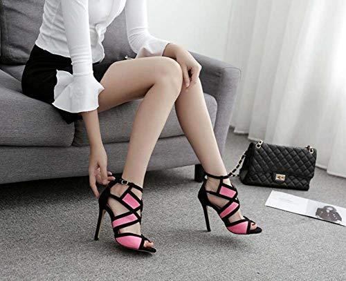 Corte Toe Pink Eu Pompa Dimensioni Abito Stiletto 11Cm 35 Scarpe Tacco Sandali Peep Alto Casual 40 Colormatch Scarpe Donne pU67xnqwdU
