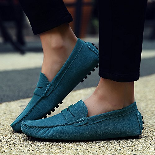 Sunrolan Beau Para Hombre Casual Leather Penny Loafer Slip-on Driving Mocasín Zapatos Planos Sky Blue