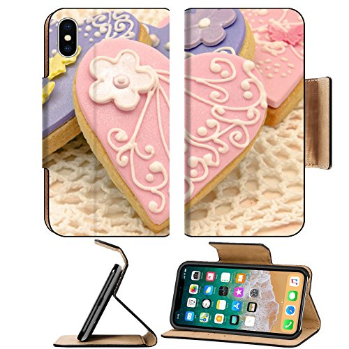 Heart Decorated Cookie (Luxlady Premium Apple iPhone X Flip Pu Leather Wallet Case IMAGE ID: 17768556 Valentine cookies decorated with heart shape)