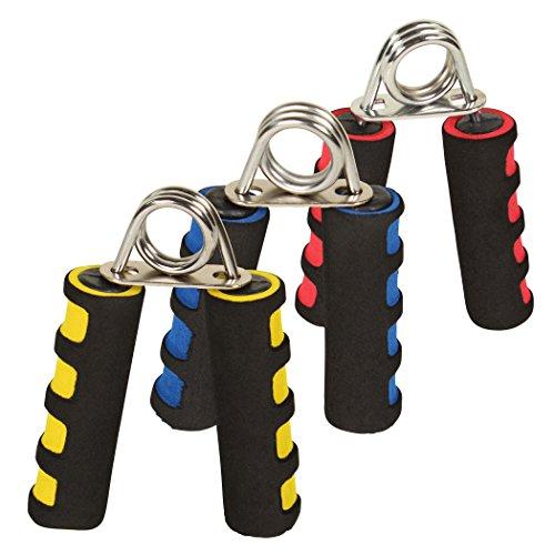 Handtrainer / Fingertrainer / Handmuskeltrainer / Fingerhantel / Unterarmtrainer 3 verschiedene Stärken Gelb, Blau und Rot von POWRX (3 er Set)