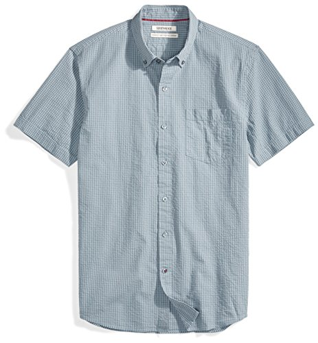 - Goodthreads Men's Standard-Fit Short-Sleeve Seersucker Shirt, Dark Grey Check, Large
