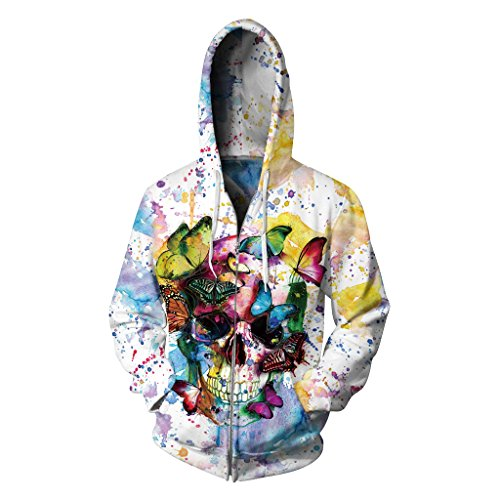 Moon&Miss Unisex 3D Printed Full Zip Up Hoodie Galaxy Long Sleeve Hoodies Pullover Sweatshirt Jacket with Pockets (Small/Medium, Butterfly Skeleton)