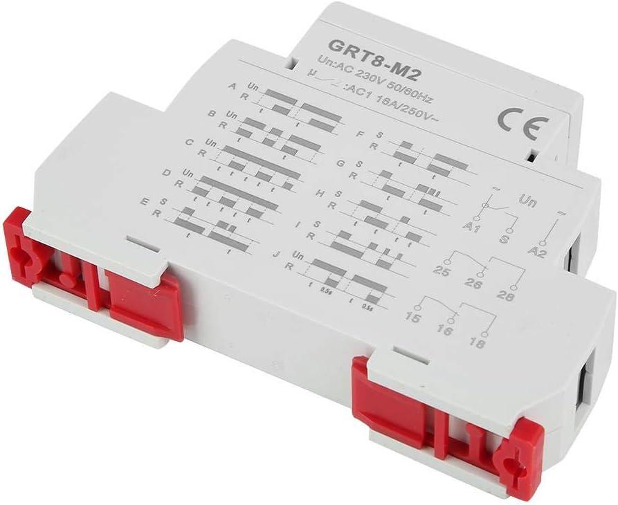 Hyuduo AC 220V Relé de Tiempo de Retardo Multifuncional con 10 Funciones Montaje En Riel DIN para Control de Iluminación de Equipos Industriales