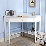Mecor White Wood Corner Computer Desk with One Drawer One Shelf Laptop PC Table Workstation Writing Study Table Home Office
