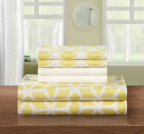 Geometric Print Pillow (Chic Home 6 Piece Bailee Supersoft Brushed Microfiber Deep Pocket Striped Pattern Sheet Set with 2 Bonus Pillow Cases, King, Yellow)