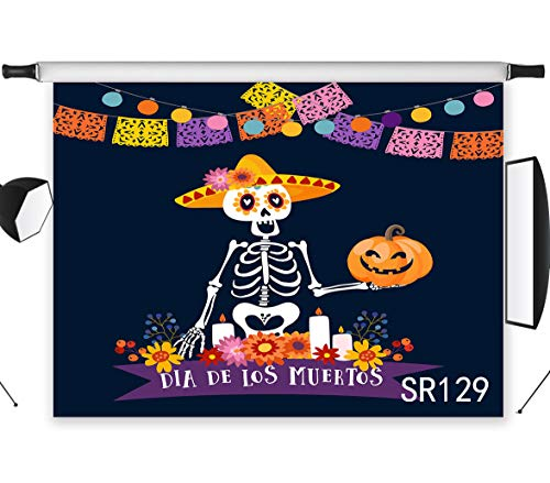 LB Day of The Dead Backdrop for Photography 7x5ft Polyester Fabric Skeleton with Pumpkin Mexican Día de Los Muertos Photo Backdrops Customized Photo Background Studio Props,Washable]()